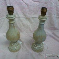 Vintage: DOS PEIS PARA LAMPARA, MADERA TORNEADA I PINTADA CON DECAPE.. Lote 46227836