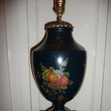 Vintage: LAMPARA TERRACOTA PINTADA, ALBASTRO Y BRONCE. Lote 46516559