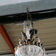 Vintage: LAMPARA DE CRISTAL Y BRONCE. Lote 46924170