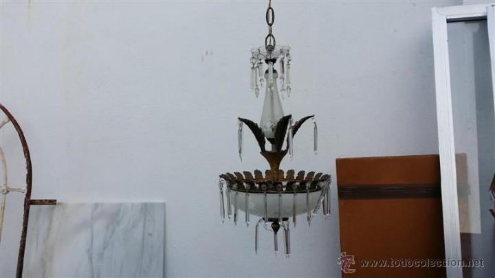 Vintage: lampara de cristal y bronce - Foto 4 - 46924170