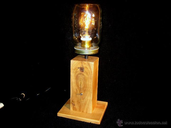 LÁMPARA MESA EN MADERA NOGAL BOMBILLA EDISON.WALNUT WOOD TABLE LAMP BULB EDISON (Vintage - Lámparas, Apliques, Candelabros y Faroles)