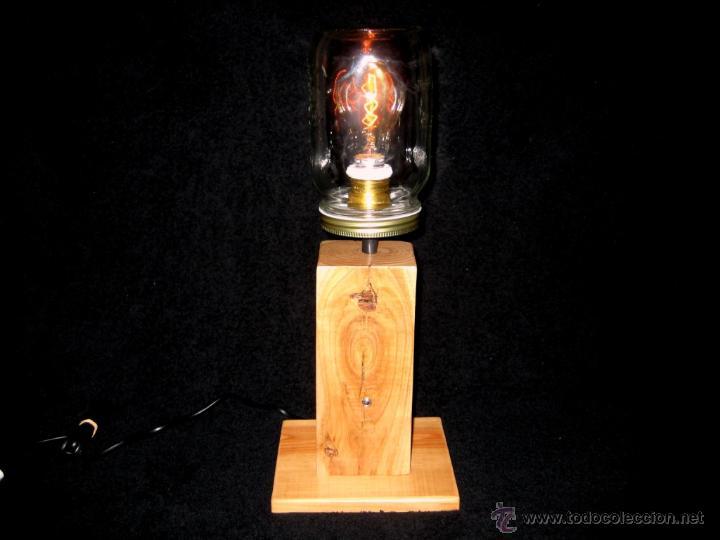 Vintage: LÁMPARA MESA EN MADERA NOGAL BOMBILLA EDISON.WALNUT WOOD TABLE LAMP BULB EDISON - Foto 2 - 47547953