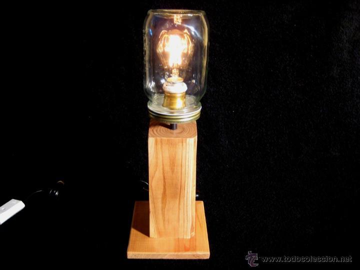 Vintage: LÁMPARA MESA EN MADERA NOGAL BOMBILLA EDISON.WALNUT WOOD TABLE LAMP BULB EDISON - Foto 3 - 47547953