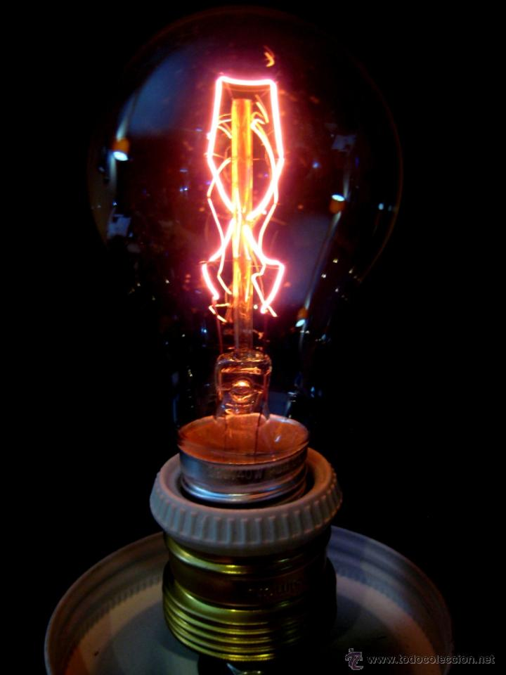 Vintage: LÁMPARA MESA EN MADERA NOGAL BOMBILLA EDISON.WALNUT WOOD TABLE LAMP BULB EDISON - Foto 5 - 47547953