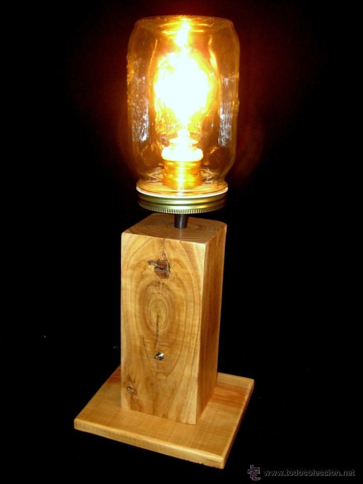 Vintage: LÁMPARA MESA EN MADERA NOGAL BOMBILLA EDISON.WALNUT WOOD TABLE LAMP BULB EDISON - Foto 7 - 47547953