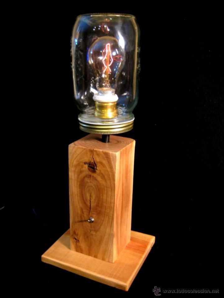 Vintage: LÁMPARA MESA EN MADERA NOGAL BOMBILLA EDISON.WALNUT WOOD TABLE LAMP BULB EDISON - Foto 8 - 47547953