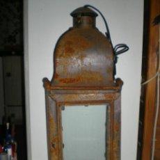 Vintage: PRECIOSO FAROL GRANDE EN FORJA CON CRISTALES 60 CM DE ALTO FUNCIONANDO PERFECTO!!..... Lote 47833126