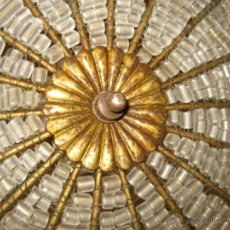 Vintage: EXCEPCIONAL LAMPARA PLAFON BOHEMIA ANTIGUA EN FORJA DORADA Y CRISTALES CLASICA VINTAGE. Lote 48193983