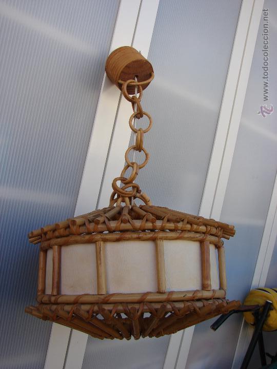 lampara de techo de madera ratan o rafia vint Comprar Lmparas