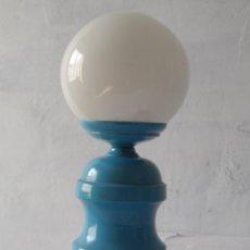 Vintage: VINTAGE LAMPARA ALUMINIO COLOR AZUL Y GLOBO CRISTAL BLANCO. Lote 48224193