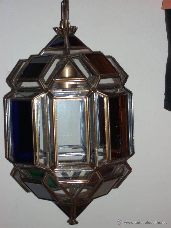 FAROL CON CRISTAL DE COLORES (Vintage - Lámparas, Apliques, Candelabros y Faroles)