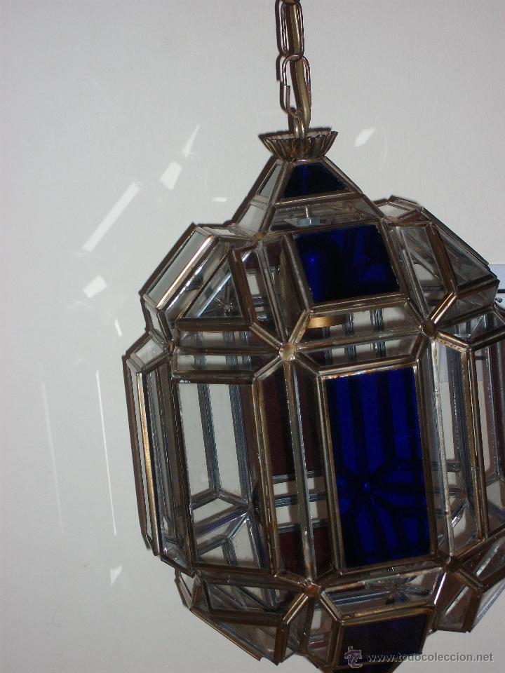 Vintage: farol con cristal de colores - Foto 2 - 48596640