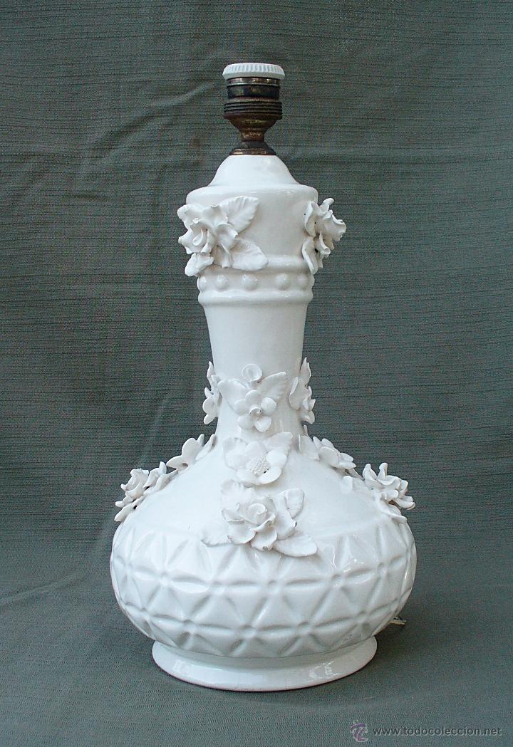 Lampara antigua de ceramica de manises con flor comprar - Lamparas de ceramica ...