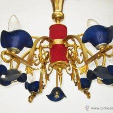 Vintage: RARISIMA Y ENORME LAMPARA 9 BRAZOS TIPO STILNOVO EN METAL DORADO TULIPAS MURANO AZUL CAPODIMONTE. Lote 47639460