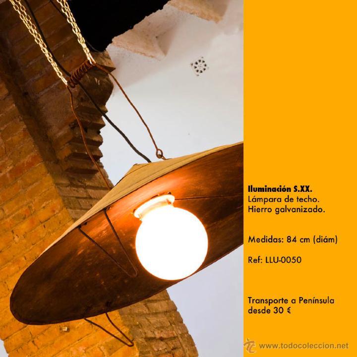 L mpara de techo estilo industrial hierro galv comprar for Donde comprar ruedas estilo industrial