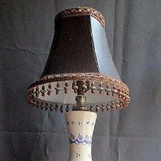 Vintage: LAMPARA DE CERAMICA DE TRIANA CON BASE DE MADERA DORADA NO ES DE MANISES. Lote 48826647