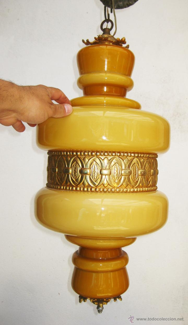 Vintage: MEGA LAMPARA OPALINA 65CM CRISTAL Y BRONCE VINTAGE DECORACION CLASICA O POP - Foto 2 - 48925893