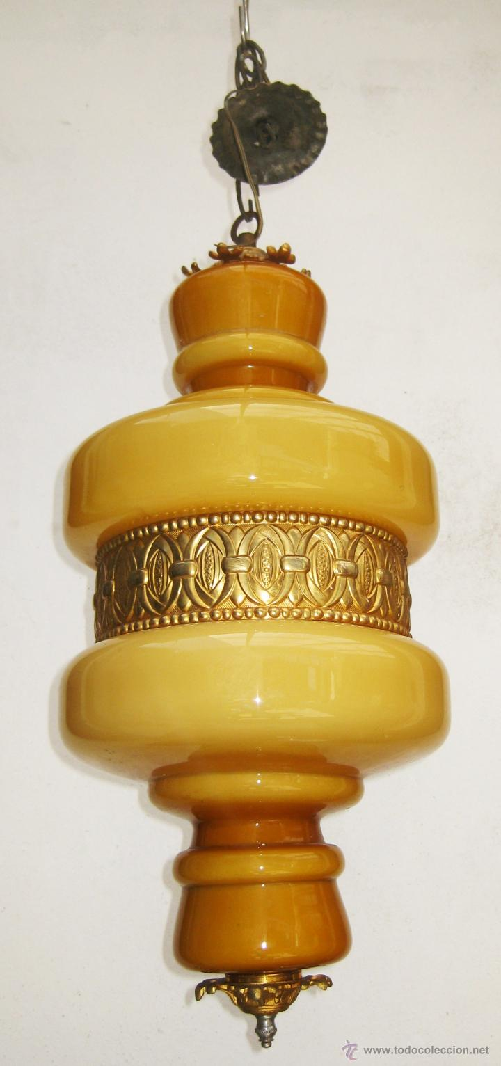 Vintage: MEGA LAMPARA OPALINA 65CM CRISTAL Y BRONCE VINTAGE DECORACION CLASICA O POP - Foto 3 - 48925893