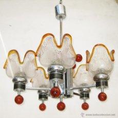 Vintage: BESTIAL LAMPARA AÑOS 70 ORIGINAL CRISTAL MURANO MAZZEGA TULIPAS Y BOLA DECORACION RETRO VINTAGE. Lote 48952300