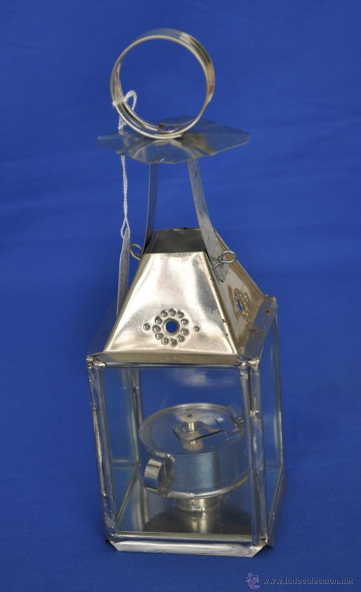 FAROL DE HOJALATA ARTESANAL GRANDE. (Vintage - Lámparas, Apliques, Candelabros y Faroles)