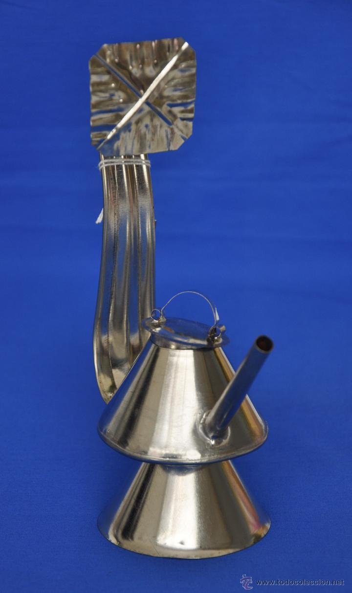 CANDIL DE HOJALATA ARTESANAL PEQUEÑO. (Vintage - Lámparas, Apliques, Candelabros y Faroles)