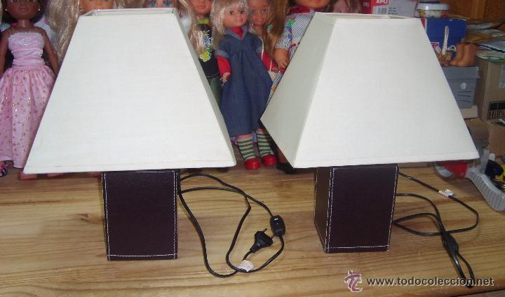 antiguas lamparas de mesita simil piel marron c - Comprar Lámparas ...