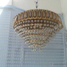 Vintage: LAMPARA BORADA PLAFON Y CRISTALES. Lote 171311537