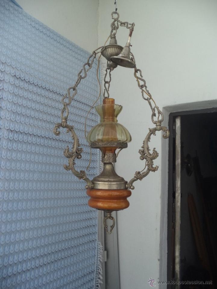 LAMPARA DE CALAMINA Y CERAMICA (Vintage - Lámparas, Apliques, Candelabros y Faroles)