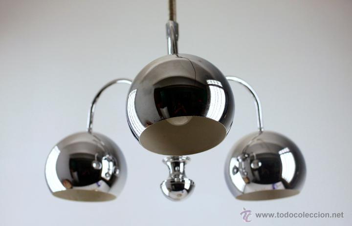 Vintage: lámpara techo space age cromada sube y baja tres luces eyeball años 70 - Foto 3 - 49452333