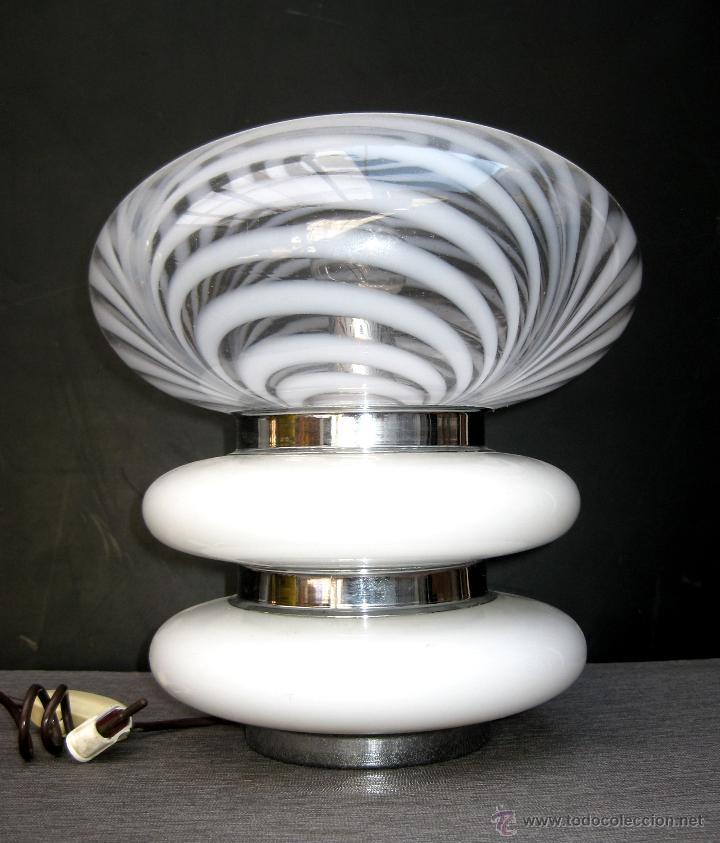 Vintage: ELEGANTE LAMPARA VINTAGE AÑOS 60 SPACE AGE DISEÑO ITALIANO CRISTAL MURANO MAZZEGA SETA - Foto 3 - 49537480