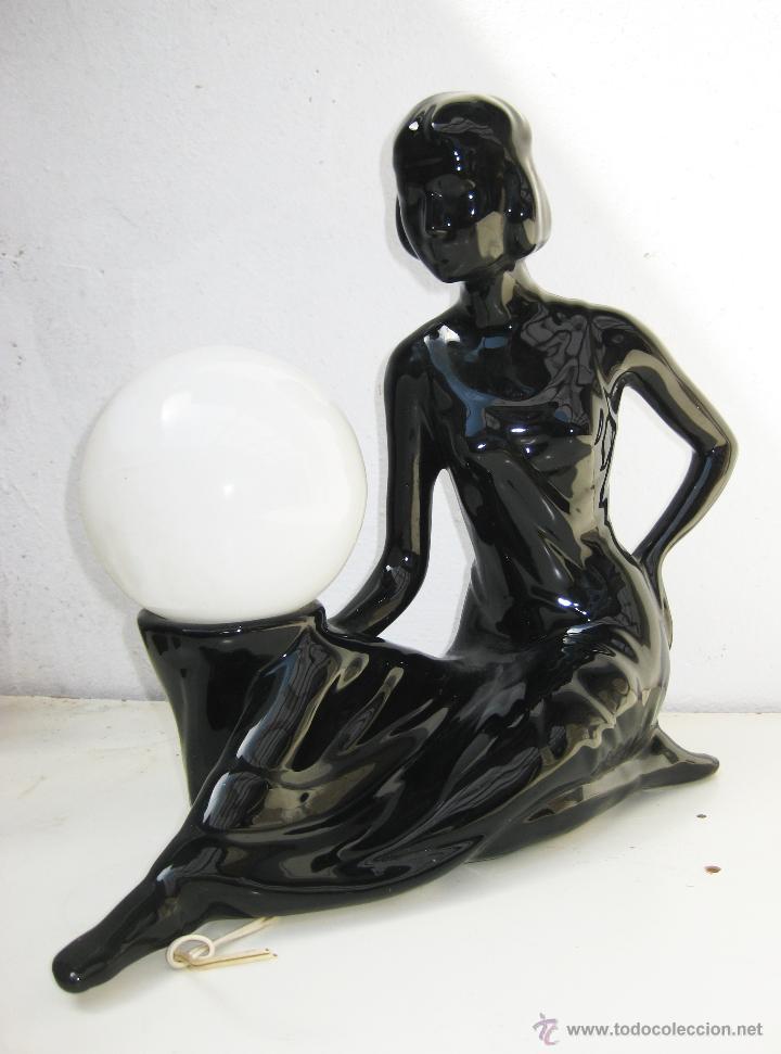 Vintage: PRECIOSA GRAN LAMPARA ANTIGUA Y VINTAGE POP ART DECO CERAMICA MANISES - Foto 3 - 49586783