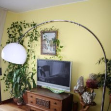 Vintage: ENORME LAMPARA DE PIE CON BASE DE MARMOL - 2.05 METROS DE ALTURA REGULABLE - FUNCIONANDO. Lote 49783082