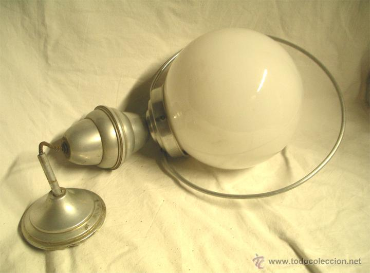 Vintage: Lampara techo Sube y baja, globo opalina blanca, años 60. Med. 50 x 28 cm - Foto 2 - 50284562