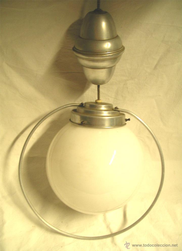 Vintage: Lampara techo Sube y baja, globo opalina blanca, años 60. Med. 50 x 28 cm - Foto 3 - 50284562
