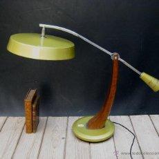 Vintage: UNICA! INEDITA MEGA LAMPARA FASE PENDULO EN MADERA Y ORO AÑOS 60 ANTIGUA VINTAGE. Lote 50443023