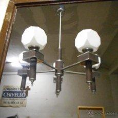 Vintage: GRAN LAMPARA VINTAGE ESPECTACULAR DISEÑO MUY DECORATIVA OPALINA CUADRADA FUNCIONANDO. Lote 50796170
