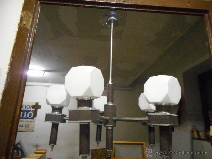 Vintage: gran lampara vintage espectacular diseño muy decorativa opalina cuadrada funcionando - Foto 2 - 50796170