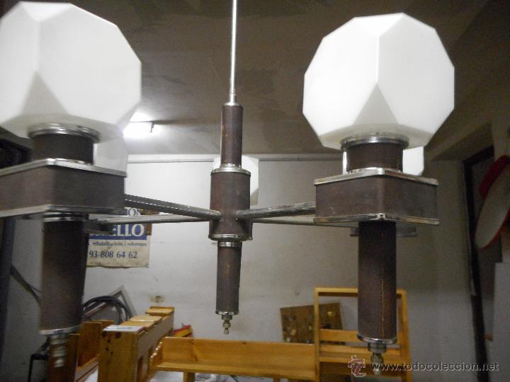 Vintage: gran lampara vintage espectacular diseño muy decorativa opalina cuadrada funcionando - Foto 4 - 50796170
