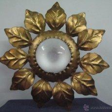 Vintage: LAMPARA APLIQUE DE TECHO VINTAGE FORJA Y PAN DE ORO. Lote 51001667