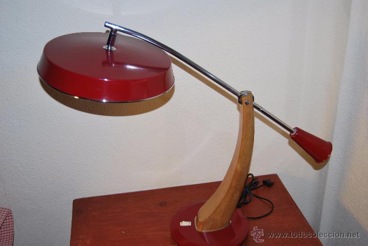 LÁMPARA FASE PÉNDULO - MADERA Y METAL - VINTAGE - AÑOS 60-70 - T (Vintage - Lámparas, Apliques, Candelabros y Faroles)