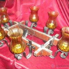 Vintage: LAMPARA RUSTICA TECHO 6 BRAZOS BUEN ESTADO, SOLO LIMPIEZA,ARMAZON MADERA TULIPAS COLOR MIEL, AÑOS 60. Lote 51046152