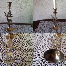 Vintage: PORTAVELA - CANDELABRO DE LATÓN MIDE 20 CM DE ALTO X 6 CM DE DIÁMETRO DE LA BASE . Lote 51067487