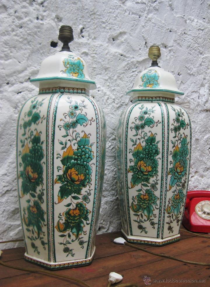 ENORME PAREJA DE LAMPARAS 60CM CERAMICA MANISES VINTAGE CH HISPANIA ELEGANTISIMA (Vintage - Lámparas, Apliques, Candelabros y Faroles)
