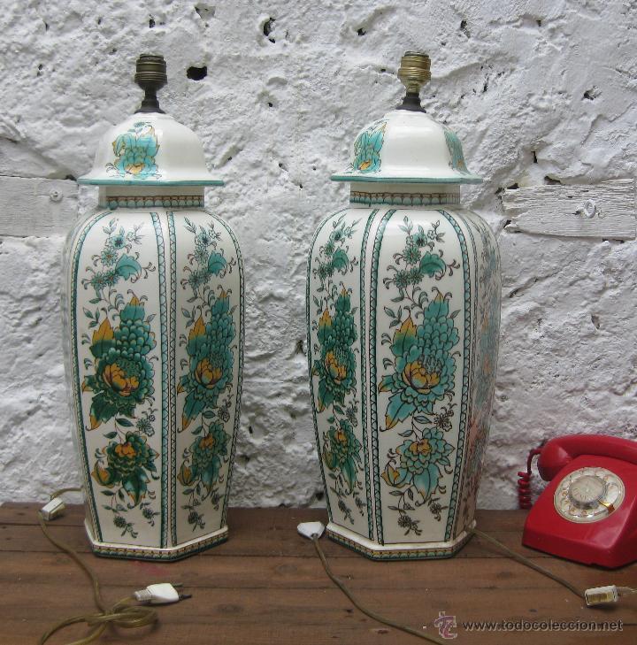 Vintage: ENORME PAREJA DE LAMPARAS 60CM CERAMICA MANISES VINTAGE CH HISPANIA ELEGANTISIMA - Foto 4 - 51124635
