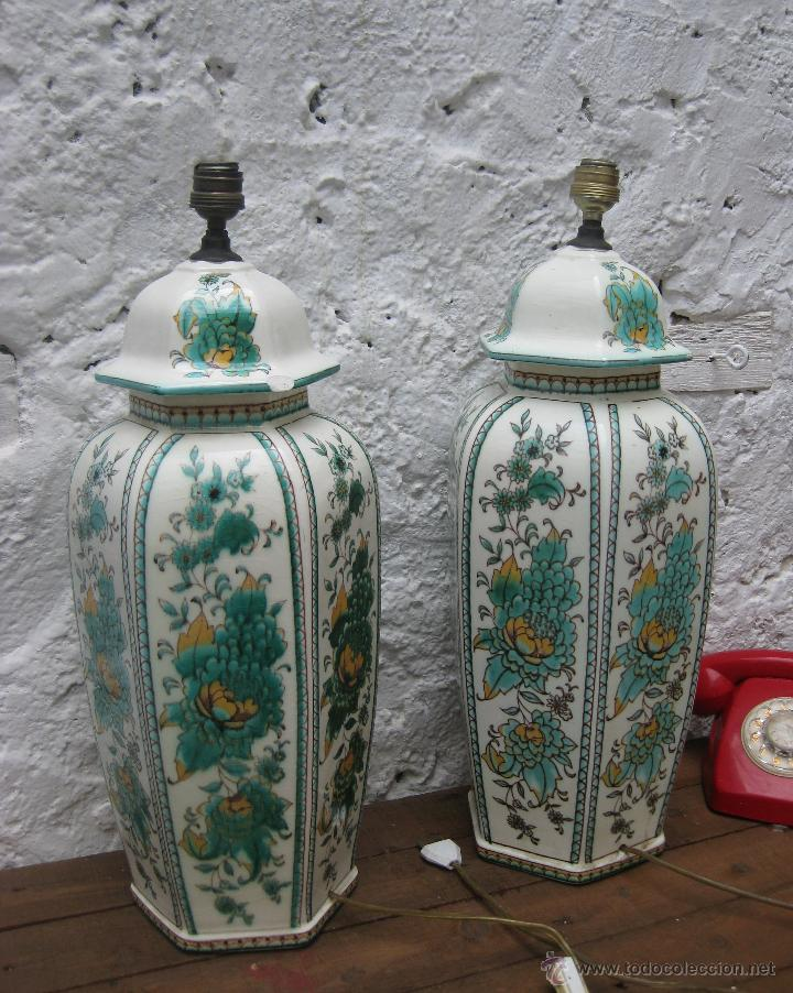 Vintage: ENORME PAREJA DE LAMPARAS 60CM CERAMICA MANISES VINTAGE CH HISPANIA ELEGANTISIMA - Foto 6 - 51124635