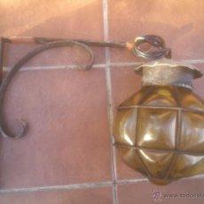Vintage - Lámpara farol globo, cristal y forja años 70 - 51251410