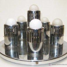 Vintage: GRAN LAMPARA ANTIGUA AÑOS 70 PLAFON CROMO 6 LUCES SPACE AGE DISEÑO. Lote 51471675