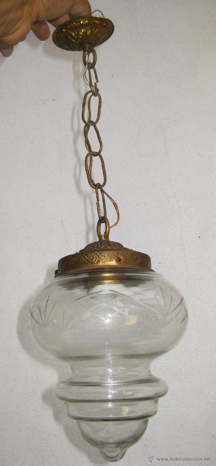 Lampara antigua laton dorado y tulipa cristal m comprar - Lamparas anos 20 ...