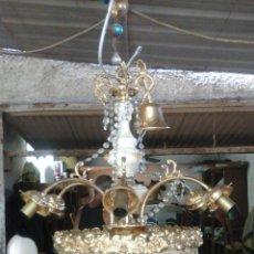 Vintage: LÁMPARA BRONCE, PORCELANA Y CRISTAL. Lote 51961461