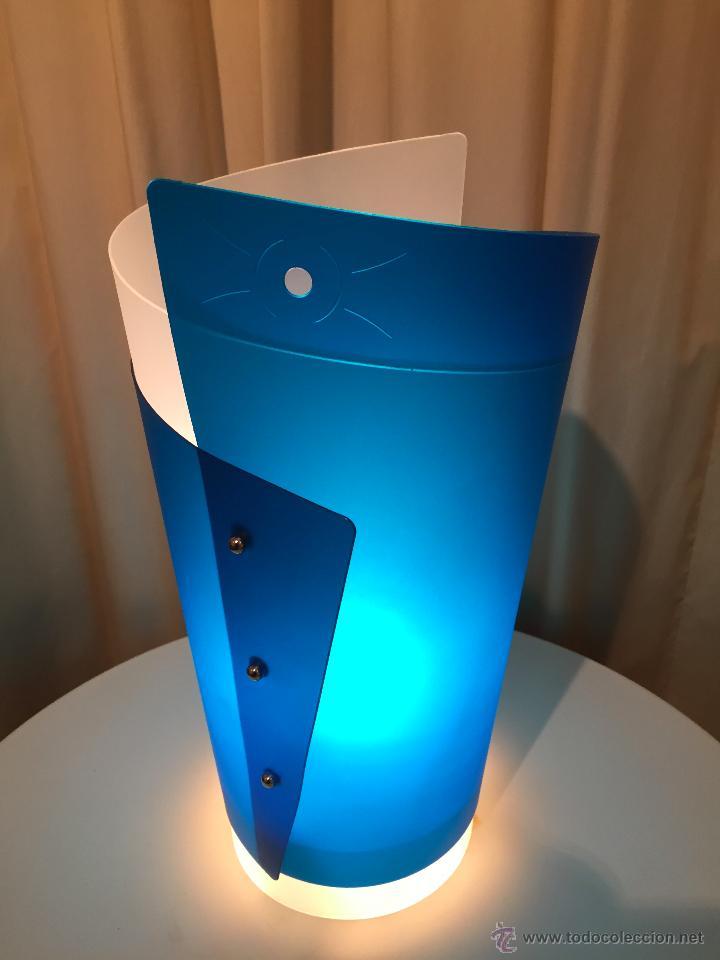 LAMPARA DE MESA ITALIANA SLAMP BLU DE SAMUEL PARKER REALIZADA EN OPALFLEX NUEVA (Vintage - Lámparas, Apliques, Candelabros y Faroles)